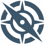 Blue compass with rings. Databound Limited Logo.